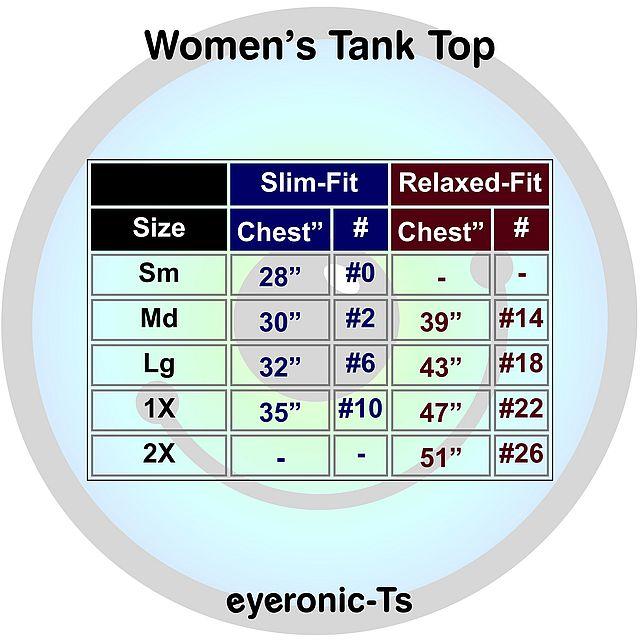 Women's tank top size chart